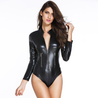 Wholesale Gothic Dance Costumes - Women Black PVC Leather Long Sleeve Bodysuit Pole Dance Costume Hot Sexy Club Gothic Fetish Latex Costume with Front Zipper
