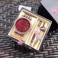 Wholesale Mk Box - New copy mk watch High quality rhinestone Luxury fashion Stainless steell bracelet watch box set with engraved brand wedding engagement