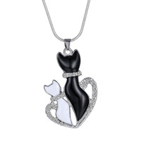 siyah kedi kolye toptan satış-Kolye Kolye Kadın Moda Sevimli SiyahBeyaz Kediler Kolye Zincir Kolye Hediyeler Zincir Kolyeler