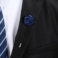 Wholesale Wedding Corsage Man - 19 Colors Handmade Double Layer Rose Corsage Boutonniere Stick Brooch Pin Unisex Wedding Prom Party Women Man Lapel Flower Suit Pins Brooch