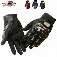 Wholesale Luvas Pro Biker - NEW PRO knight Full Finger Protective Gear Black Carbon Fiber Pro-Biker Bike Motorcycle Motorbike Racing Gloves Luvas M L XL