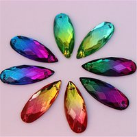 Wholesale Drop Shape Loose - 100pcs lot 8*22mm Double color Acrylic Drop shape sew on loose rhinestone silver base flatback crystal ZZ234