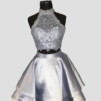 ingrosso vestito di ritorno domestico grigio blu-Abiti da sposa in raso grigio argento due pezzi abito da sera in raso senza maniche in raso alto