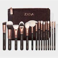 Wholesale Metal Bag Wholesale - 15pcs set ZOV Makeup Brushes Set Face And Eyes Brushes Rose Golden Makeup Brushes Kit With Bag CCA7084 10set