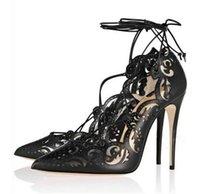 Wholesale Straw High Heeled Pumps - Women Laser Cut High heels Sweet Women Stiletto lace up Party Dress Pumps Office Lady High Heels