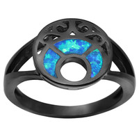 Wholesale moon stones sale - Black Gold Plated Blue Moon Fire Opal Rings for Women Hot Sale Fashion Jewelry Unique Party Cocktail Ring for Wedding BR230
