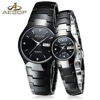 Wholesale Aesop Watches - Wholesale-AESOP Ceramic Lover Couple Watch Women Men Sapphire Crystal Quartz Wristwatch Ladies Clock Montre Femme Relogio Feminino 2017 46