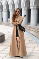 Wholesale Woollen Dresses - Qiu dong the goddess of cultivate morality posed mop the floor on super long woollen coat collar dress dust dress coat ems gift