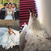 Wholesale organza flower wrap online - 2016 Saudi Arabia Crystal Luxury Flowers Wedding Dresses A Line Beaded Lace Vintage Bridal Gowns Plus Size Vestidos De Noiva Cathedral Train