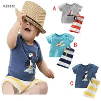 Wholesale Shirt Bird Cartoon - 3 Design Boy aircraft bird ship stripe 2 pcs Suit new children cartoon Short sleeve T-shirt +shorts 2 pcs Suit B001