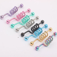 Industrial Barbell Bar Pendiente Body Piercing Jewelry Anodizado Scaffod Ear Tongue Ring 40PCS / lot Color de la mezcla