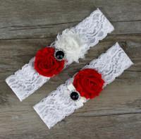 Wholesale red wedding garters - 2016 Sexy Bridal Garters White Red Sheer Ribbon Rhinestones Lace 44*38cm Garters for Wedding Bride 4