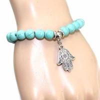 braceletes de grânulos dos eua venda por atacado-Nova Chegada 8mm turquesa bead hamsa charme mão pulseiras turcas religiões étnicas jóias mulheres EUA yoga