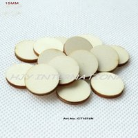 Wholesale Wooden Ornaments Bulk - (200pcs lot) 15MM blank cutout circle wood disks crafts earrings bulk wooden pieces ornaments -CT1074N