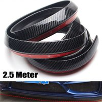 Wholesale Front Bumper Spoiler - New Black 2.5M Car Front Bumper Lip Splitter Spoiler Skirt Carbon Fiber Protector Free shipping YY087