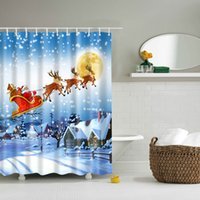 Wholesale Window Rods Wholesale - Snowman Shower Curtain Multi Function High Quality Waterproof Shading Various Styles Christmas Bath Curtains Hot Sale 35df J R