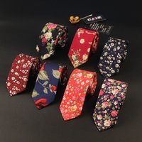 Wholesale Designer Ties For Men Wholesale - 25color new Korean fashion designer high quality mens neck tie slim narrow 6cm print flower floral cotton ties for men 10pcs