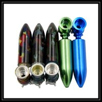 Wholesale Smoking Pipes Uk - UK Hot Detachable Metal Smoking Pipe Torpedo Missile Shaped Hand Pipes Mini Size Dry Herb Vaporizer Pen Style Pipes DHL Free