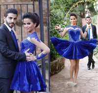 Wholesale Long Black Velvet Cocktail Dresses - Royal Blue Velvet Short Cocktail Dresses 2018 Vintage High Neck Lace Appliques Short Prom Gowns Sheer Long Sleeves Arabic Formal Party Wear