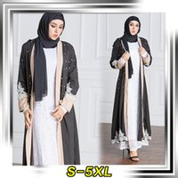 Barato Roupas Requintadas Mulheres-New Fashion Pakistani Saudi Middle East Mulheres Vestuário Cardigan Exquisite Pearl Caftan Robe S-5XL