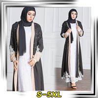 Wholesale Caftan Robe - New Fashion Pakistani Saudi Middle East Women Clothing Cardigan Exquisite Pearl Caftan Robe S-5XL