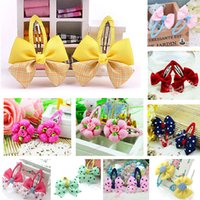 Wholesale Selling Barrettes - Free Shipping Hot Selling Cute Kids Headwear Mix Color Ribbon Bow Hairpins For Baby Girl Children BB Clips Barrettes 20pcs lot