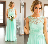 Wholesale Maid Honor Long Dresses - 2017 New Country Mint Long Bridesmaid Dresses Jewel Neck Turquoise Illusion Lace Appliques Plus Size Maid of Honor Plus Size Bridal Gowns