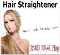 Wholesale Curl Straighten Hair - 2017 Christmas gift Straightener Iron Brush Ceramic 2 In 1 Hair Straightening Curling Irons Hair Curler EU US Plug by epacket