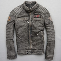 Wholesale Genuine Leather Outwears - men genuine leather Motorcycle jacket locomotive outwear Frayed Cowhide leather motor silm short Harley leanther jackets