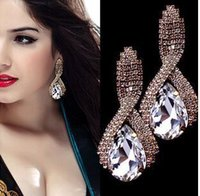 Wholesale Drop Crystal Diamond Stud Earring - 18K Gold Tear Charming Gold Plating Alloy Big Crystal Rhinestone Ear Drop Earrings Gift For Women Girls Jewelry
