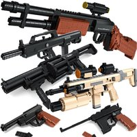 Wholesale Military Model Building - Building blocks of guns assembled military series pistol assembled plastic model boy weapon toys
