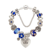 Wholesale blue flower love resale online - New Charm Bracelets Silver plated Bangle For Women heart Bracelet blue chamilia Beads flower charms Diy Jewelry as christmas gift