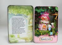 Wholesale Miniature Wood Light House - Wholesale-Romantic Castle Box theatre DIY Mini Doll house 3D Miniature Colored Lights+Metal box+Dolls+Wooden support+Furniture Decoration