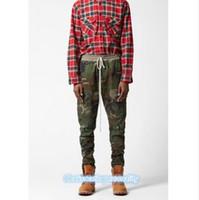 Wholesale Justin Bieber Jogging Pants - Top kanye west camo jogging pants justin bieber fear of god fog camouflage trousers outdoor joggers men ykk side zipper pants