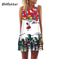 All'ingrosso - Vestito da nuovo arrivo 2017 Balls Print Casual Summer Dress Dress Sleeveless Cute Party Dress Womens Abiti in chiffon Vestido de festa