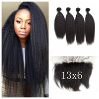 Wholesale natural yaki hair piece - 13x6 Kinky Straight Lace Frontal Closure With Bundles Virgin Brazilian Human Hair Coarse Yaki Weave Closure G-EASY