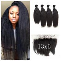 Wholesale Kinky Yaki Human Hair Weave - 13x6 Kinky Straight Lace Frontal Closure With Bundles Virgin Brazilian Human Hair Coarse Yaki Weave Closure G-EASY