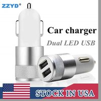 Wholesale Wholesale Car Phone Adapter - ZZYD Metal Car charger Aluminium Alloy 2.1 A Dual USB port High quality charging Adapter For Tablet Samsung Galaxy S8 mobile phone