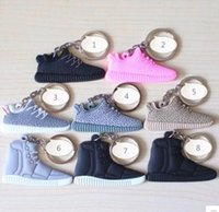Wholesale Cheap Wholesale Sneakers Free Shipping - FREE SHIPPING BY DHL 1000pcs lot Cheap Silicone 350 Boost Keychain Sneaker Key Chains Mini Shoe Key Rings PVC Key Holders 350 shoes