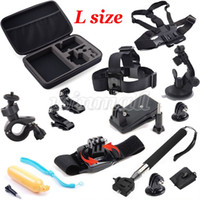 Wholesale Helmet Bags - Big L Size Collection Box Bag + Wrist Strap +Helmet Extention Kits Mount + Chest Belt Mount For Sports Action Camera Sjcam accessories