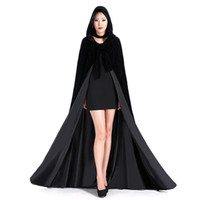 Wholesale Hooded Bridal Cape Cloak - Different Colors Cheap Velvet Hooded Cloaks Winter Wedding Capes Wicca Robe Warm Christmas Long Bridal Wraps S-6XL