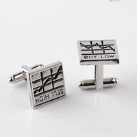 Wholesale buy silver plate - Buy Low Sell High Square Business Trader Gift Men French Cufflinks For Men Cuff Botton 8