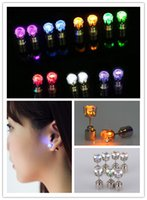 Wholesale Party Prop Wholesale - Multicolor Flash Led Earrings Luminous Ear Rings for Xmas Festivals Ball Party Concert Performace Bar Dancing Props