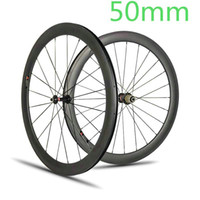 Wholesale Race Wheelset - AWST 700C Road Bike Carbon Wheels 50mm Clincher Tubular full carbon Bicycle Wheelset V brake racing bike carbon fiber wheelset