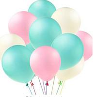 globos verdes de boda al por mayor-Novedad 60 Unids 10 Pulgadas Menta Verde Menta Rosa Blanco Globos de Látex Boda Baby Girl Shower Fiesta de Cumpleaños Decoración