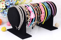 Wholesale Display Stands Headband - Wholesale High Quality Velvet Bracelet Watch Necklace Hair Hoop Headband Display Stand Holder T-Bar 30cm L