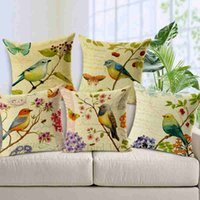 Wholesale Painting Car Windows - Hand-painting Bird and Butterfly Pillow Case Cotton Linen Cushion Case Wave Window Pad Cover Sofa Car Pillowcase House Cafe Soft-decoration