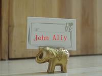 Wholesale elephant table decorations resale online - new arrive wedding favor party favors Lucky Golden Elephant Place name Card Holder table Decoration