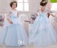 Wholesale Cheap Birthday Tutus - Vintage Flower Girl Dresses with Lace Sleeves Ball Gown Sky Blue Tutu 2017 Cheap Bow Beaded Princess Girls Pageant Dress Kids Birthday Gowns