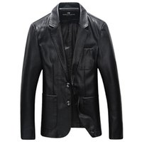 Wholesale Leather Suit For Motorcycle - Fall-Faux Leather Jacket Fashion Men Solid Business PU Leather Jackets For Men suit Collar Motorcycle Jacket New Male wear plus size